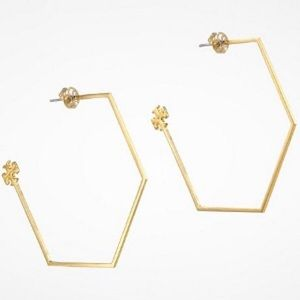 Tory batch haxagon hoop earrings